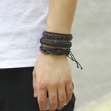 Intertwined Brown Leather Bracelet Set