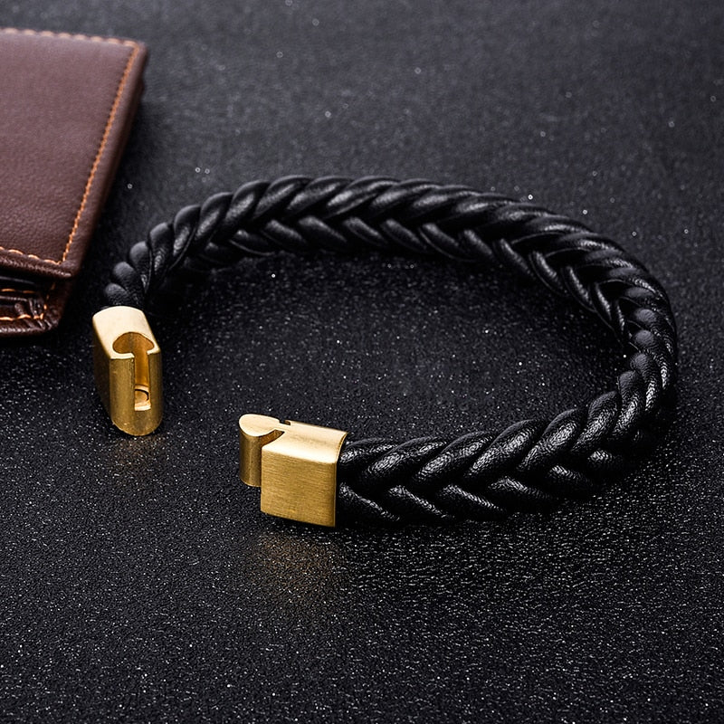Gold Black Three Strands Braided Leather Bracelet