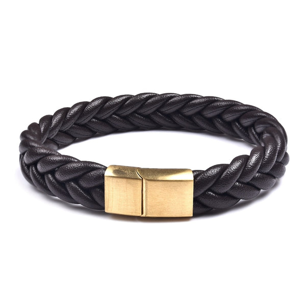 Gold Brown Three Strands Braided Leather Bracelet