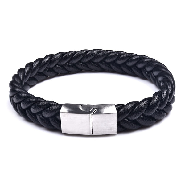 Silver Black Three Strands Braided Leather Bracelet