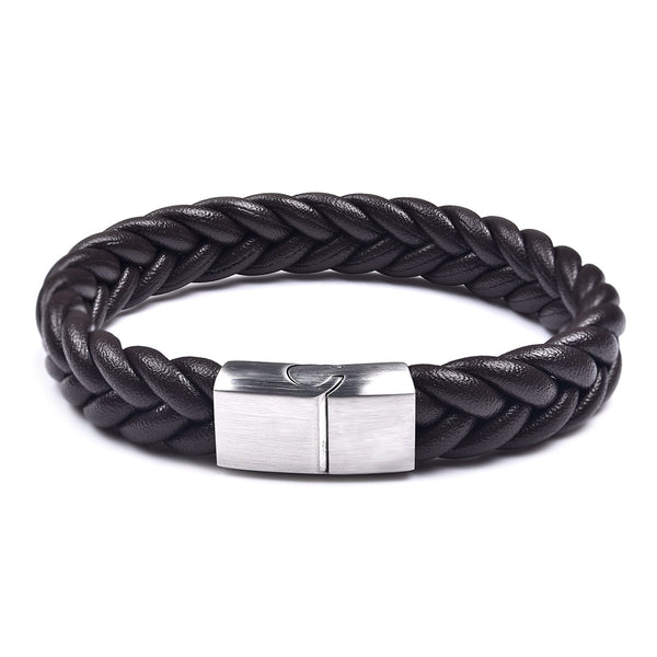 Silver Brown Three Strands Braided Leather Bracelet