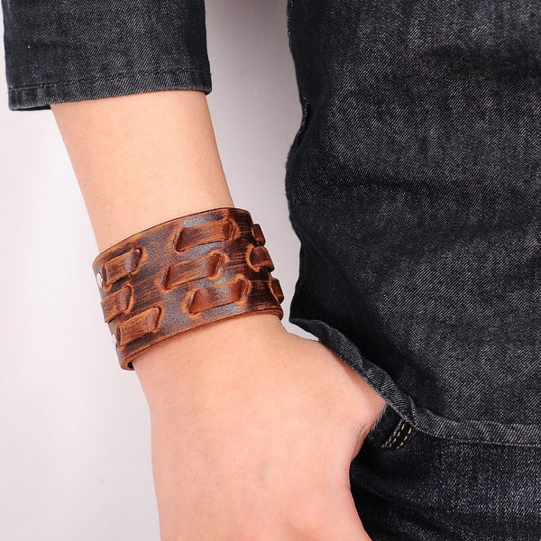 Brown Weaved Leather Bracelet