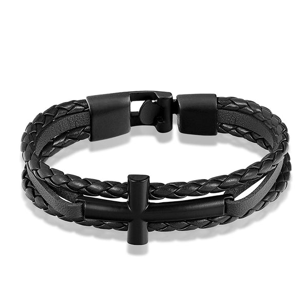 Black Cross Black Leather Bracelet
