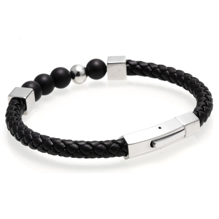 Silver Alignment Leather Bracelet