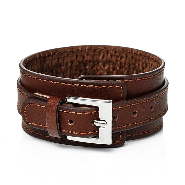 Brown Thick Belt Leather Bracelet