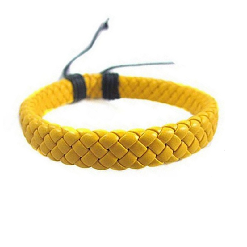 Yellow Braided Leather Bracelet