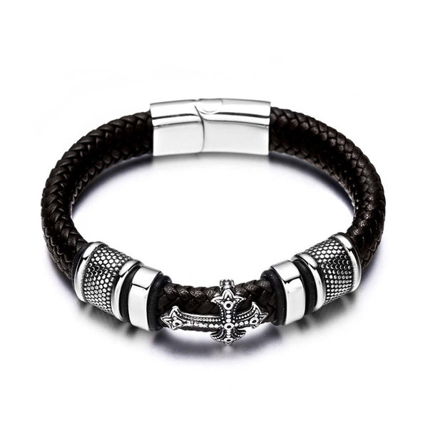 Black Cross Charm Braided Leather Bracelet