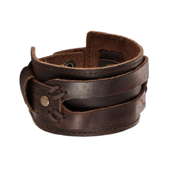Brown Two Straps Wide Leather Bracelet
