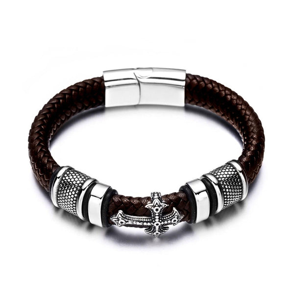 Brown Cross Charm Braided Leather Bracelet