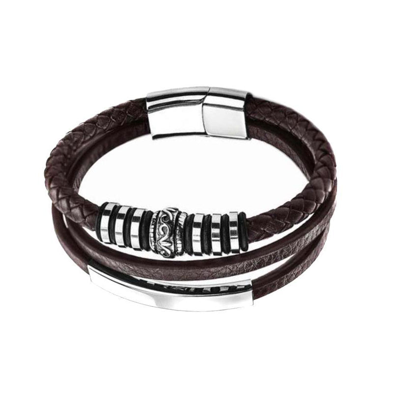 Brown Shape Silver Steel Leather Bracelet