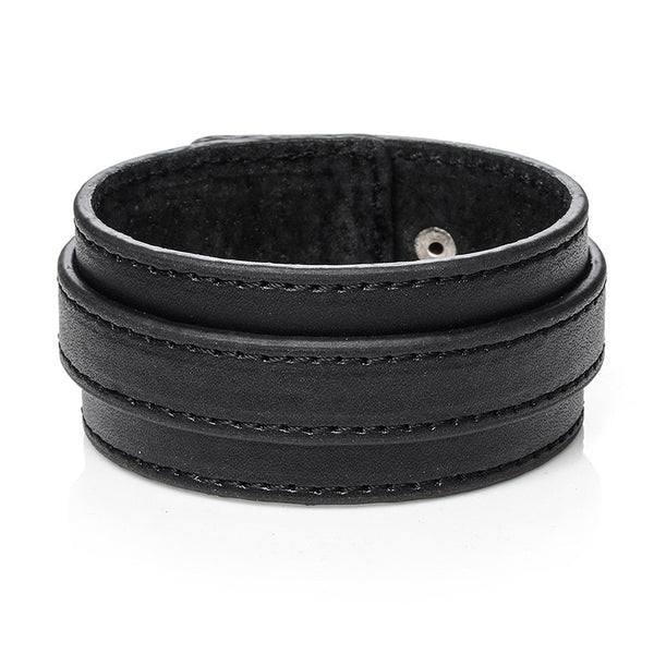 Black Thick Belt Leather Bracelet