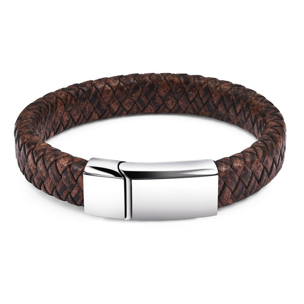 Silver Rustic Braided Leather Bracelet