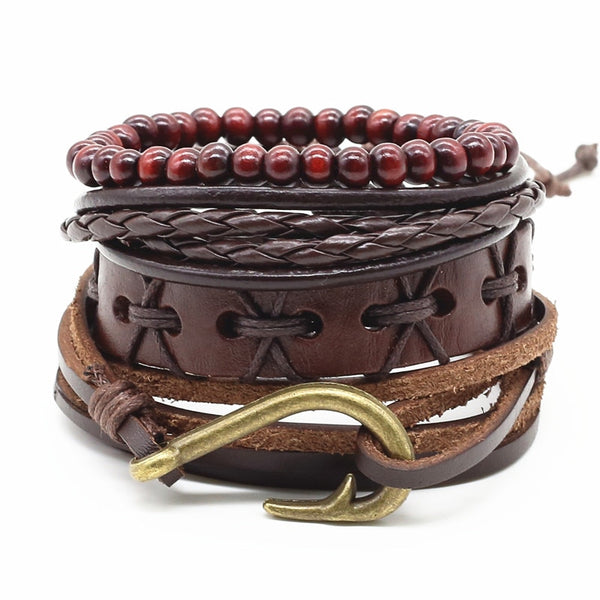 Antique Hook Leather Bracelet Set