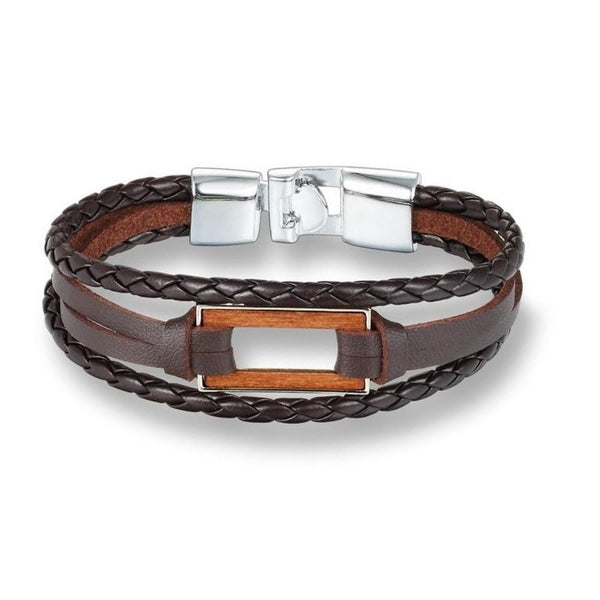 Triple Brown & Silver Rectangle Leather Bracelet