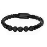 Black Lava Beads Braided Leather Bracelet