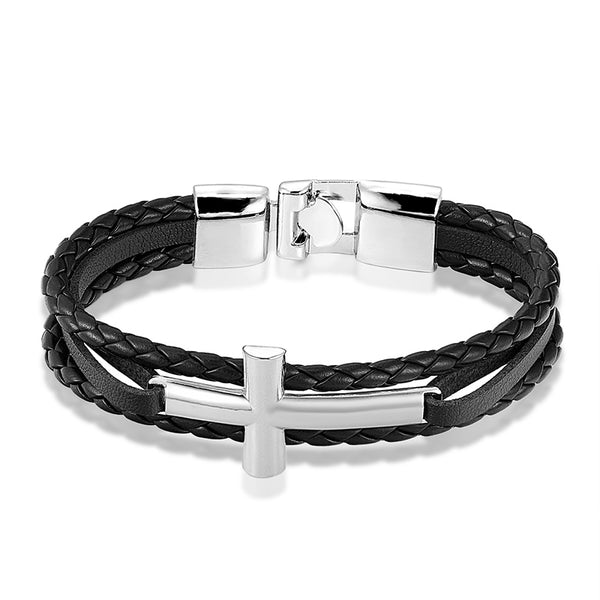 Silver Cross Black Leather Bracelet