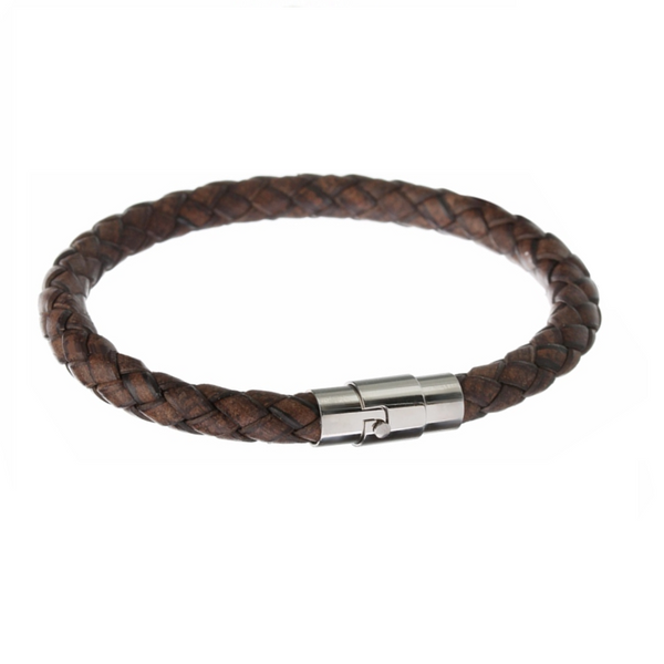 Dark Brown Square Braid Leather Bracelet