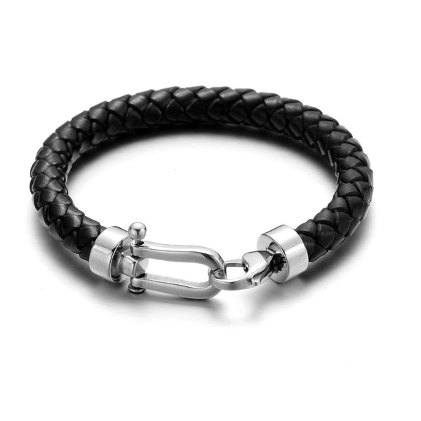 Black Horseshoe Braided Leather Bracelet