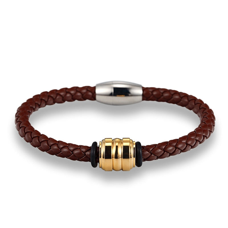 Gold Steel Brown Braid Leather Bracelet