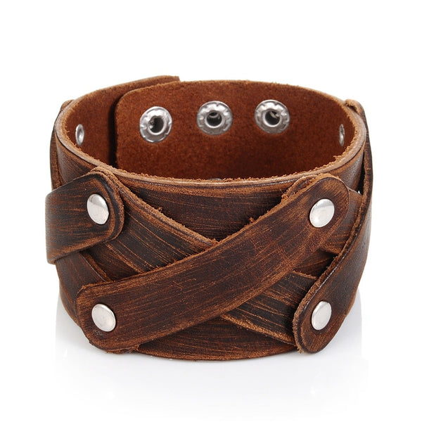 Brown Crossed Wide Leather Bracelet