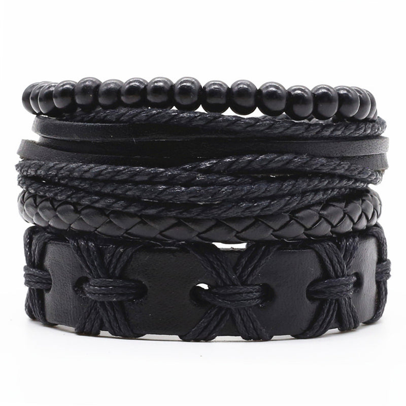 X Cross Leather Bracelet Set