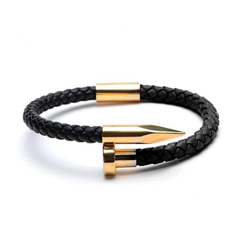 Gold Bolt Leather Bracelet