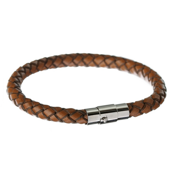 Light Brown Square Braid Leather Bracelet
