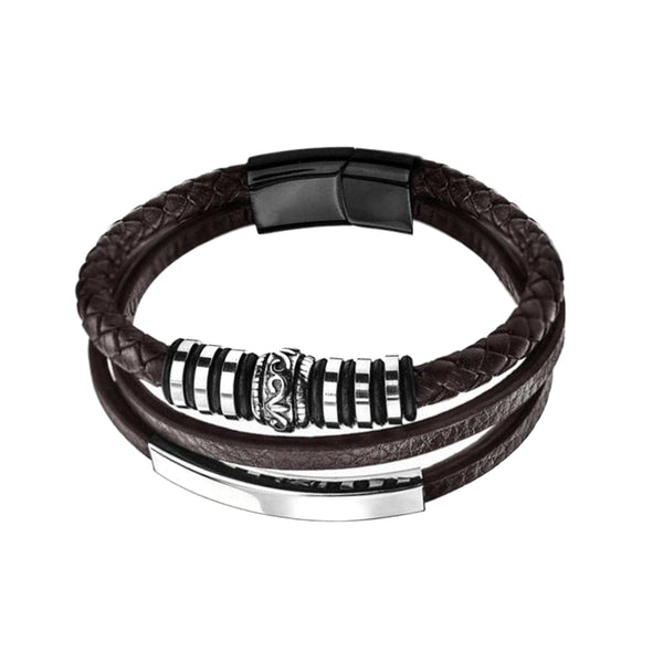 Brown Shape Black Steel Leather Bracelet
