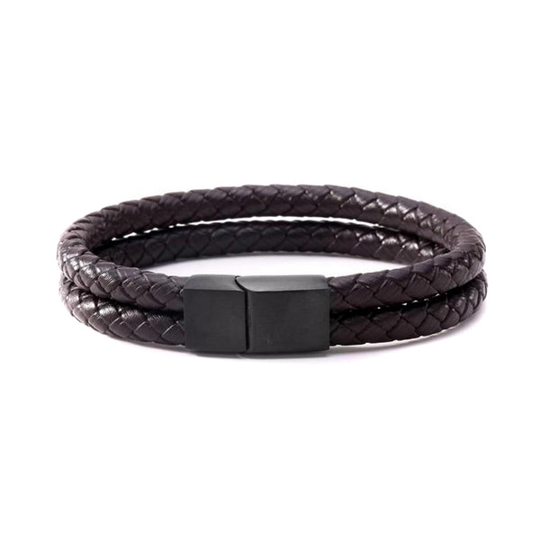 Brown Double Bolo Leather Bracelet