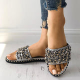 Sandalsvibe Sequins Shiny Peep Toe Antiskid Sandals
