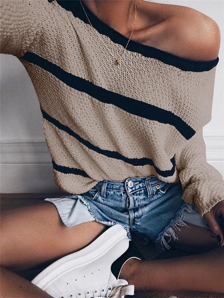 Sandalsvibe Women Casual Striped Pullover