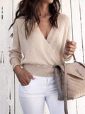 Sandalsvibe Deep V Long Sleeve Pure Color Sweater