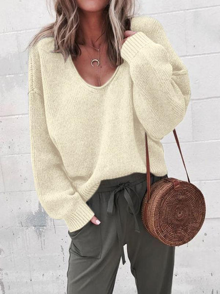 Sandalsvibe Oversized Knitted V-Neck Pullovers