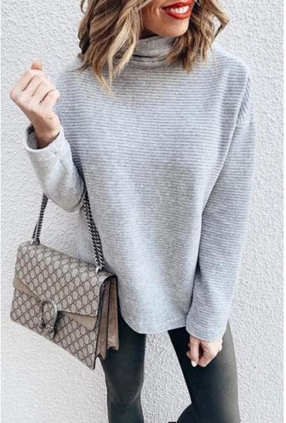 Sandalsvibe  Turtleneck Grey Sweatshirt Hoodie