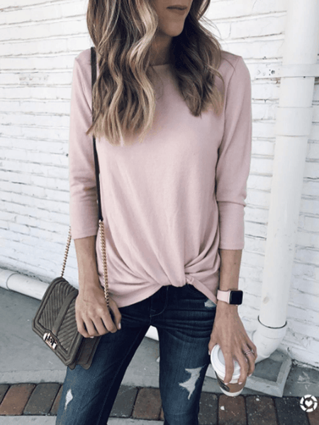 Sandalsvibe Casual Solid Knitted Sweater Top