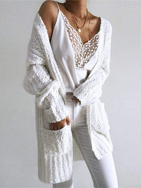Sandalsvibe Casual Long White Cardigan