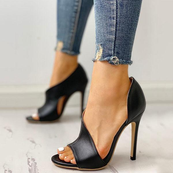Sandalsvibe Cutout Peep Toe Thin Heeled Heels (Ship in 24 Hours)