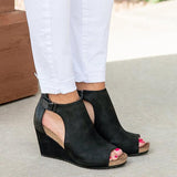 Sandalsvibe Peep Toe Blocking Hook-Loop Wedges Shoes