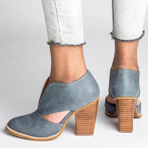 Sandalsvibe Round Toe Women Chunky Heel Casual Pu Ankle Boots