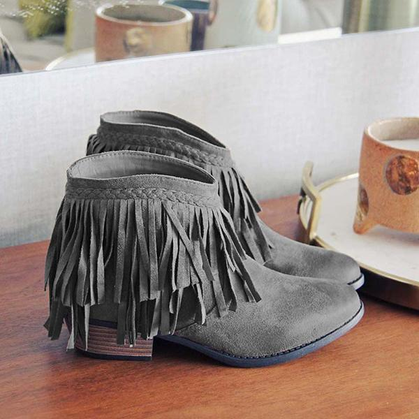 Sandalsvibe Round Toe Casual Chunky Heel Tassel Ankle Boots