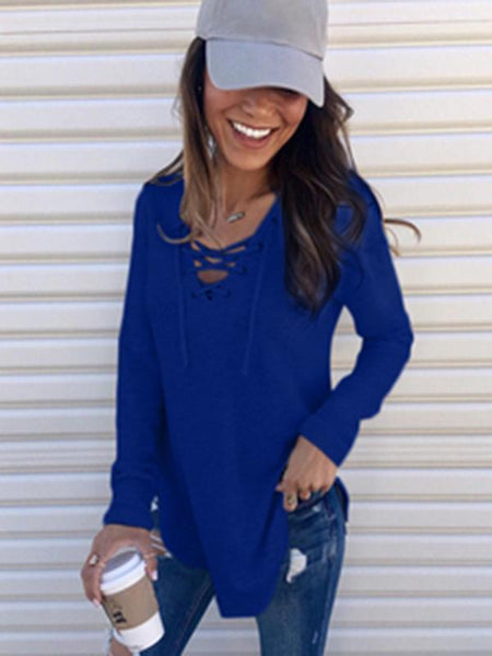Sandalsvibe Lace Up Long Sleeve Sweater
