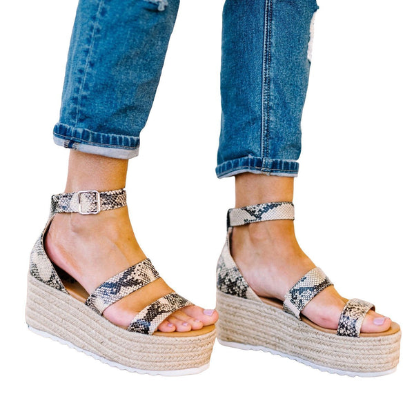 Sandalsvibe Espadrille Open Toe Ankle Strap Platform Sandals (Ship in 24 Hours)