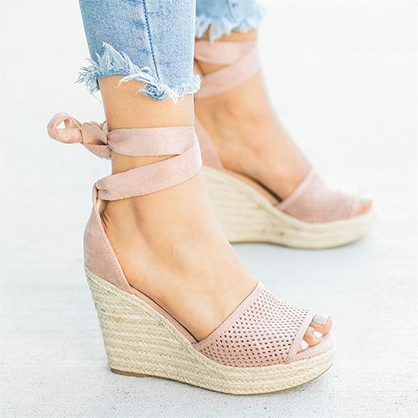 Sandalsvibe Espadrille Lace Up Wedge Braided Sandals