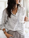 Sandalsvibe Plus Size Long Sleeve V neck Casual Sweater