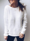 Sandalsvibe Sexy Deep V Neck Plain Sweater