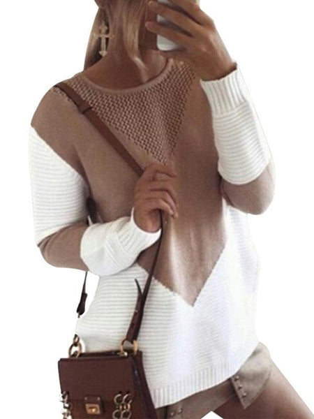 Sandalsvibe Crew Neck Loose Knitted Sweater