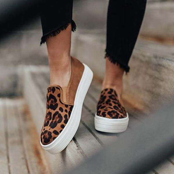 Sandalsvibe Animal Printed Flat Sneakers (Ship in 24 Hours)