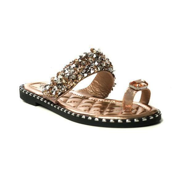 Sandalsvibe Embellished Open Toe Slippers