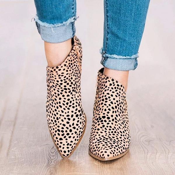 Sandalsvibe Marie Leopard Outside Cutouts Boots (Ship in 24 Hours)