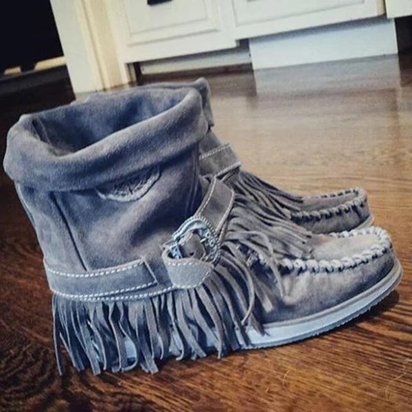 Sandalsvibe Women's Casual Flat Suede Fringe Round Toe Retro Boots